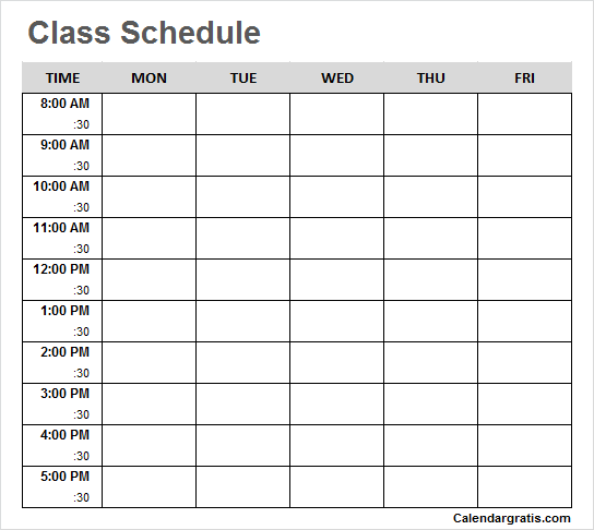 Printable Class Schedule Template For School College
