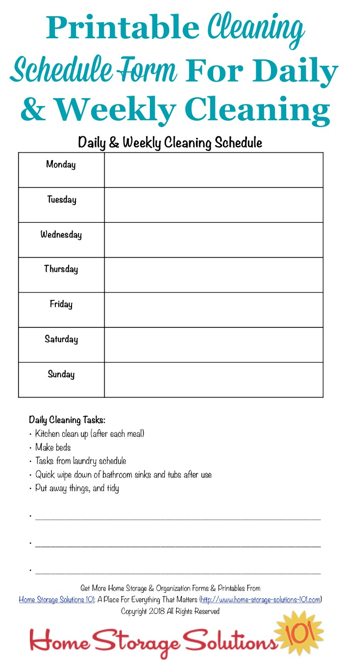 Printable Cleaning Schedule Form For Daily Weekly Cleaning