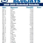 Printable Creighton Bluejays 2018 2019 Basketball Schedule