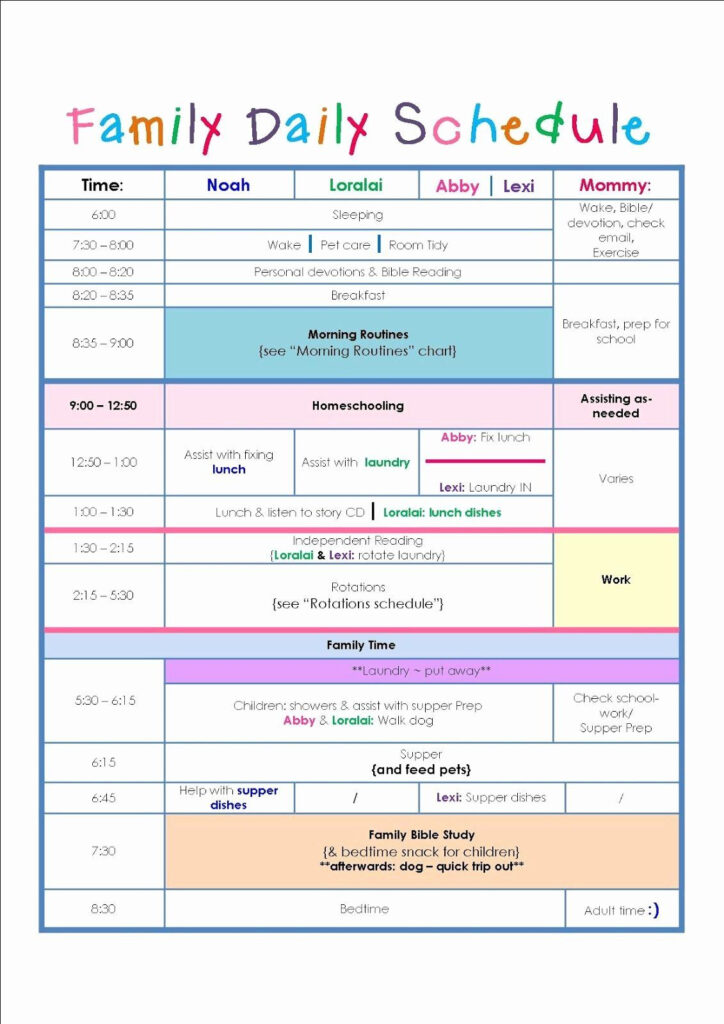 Printable Daily Schedule Template Awesome Family Daily
