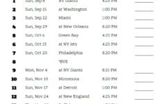 Printable Dallas Cowboys Schedule 2019 Season Dallas