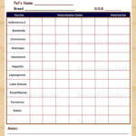Printable Dog Vaccination Chart Instant Download PDF