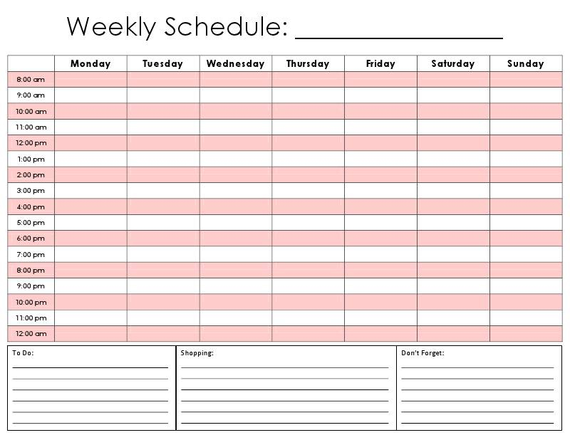 Printable Hourly Schedule Template Business