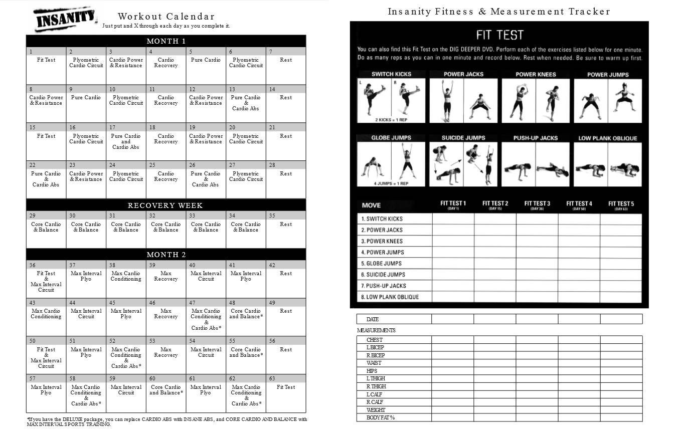 Printable Insanity Workout Calendar Pdf Free Insanity