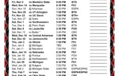 Printable Indiana University Basketball Schedule