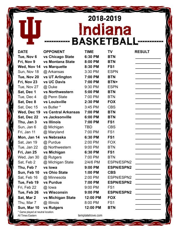 Printable Iu Basketball Schedule 2018 19 TUTORE ORG