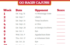Printable Louisiana Lafayette Ragin Cajuns Football
