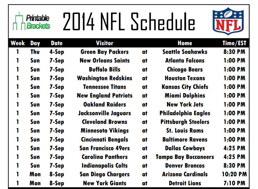 Printable NFL Schedules For All 32 Teams Now Available At