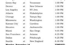 Printable NFL Week 10 Schedule Pick Em Office Pool 2016