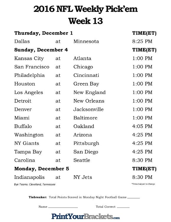 Printable NFL Week 13 Schedule Pick Em Office Pool 2016