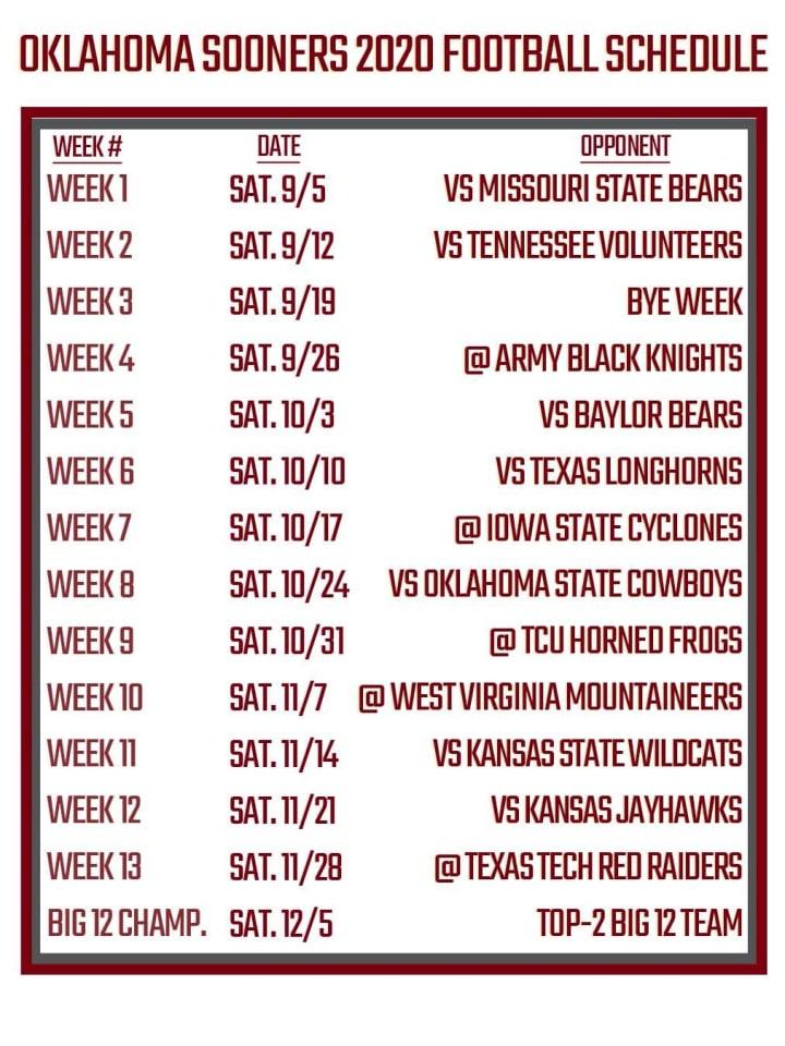 Printable Oklahoma Football Schedule 2020