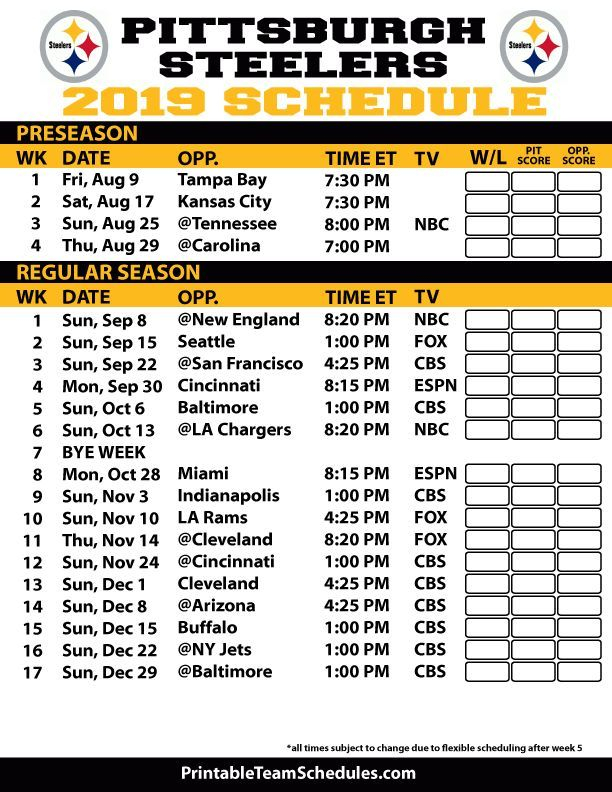 Printable Pittsburgh Steelers 2019 Schedule Cute Stuff I