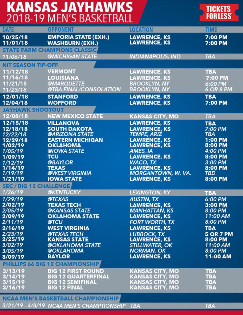 Printable Schedule KU Basketball Schedule