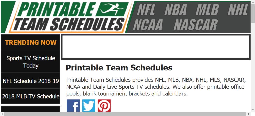 Printable Team Schedules NFL MLB NBA NHL NCAA Team