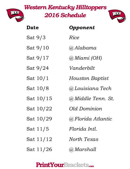 Printable Western Kentucky Hilltoppers Football Schedule