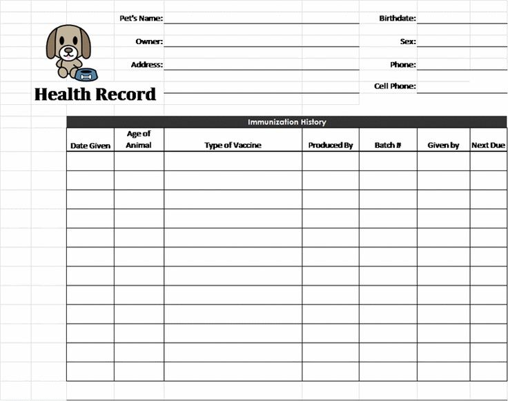 Puppy Health Record Printable Template Business PSD