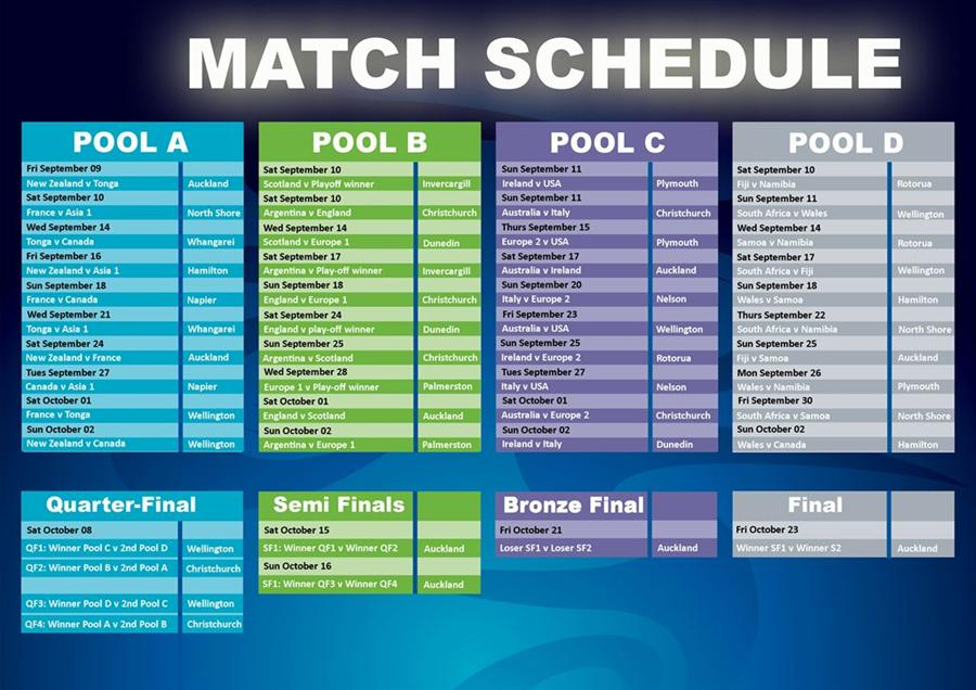 Rugby World Cup 2011 Schedule