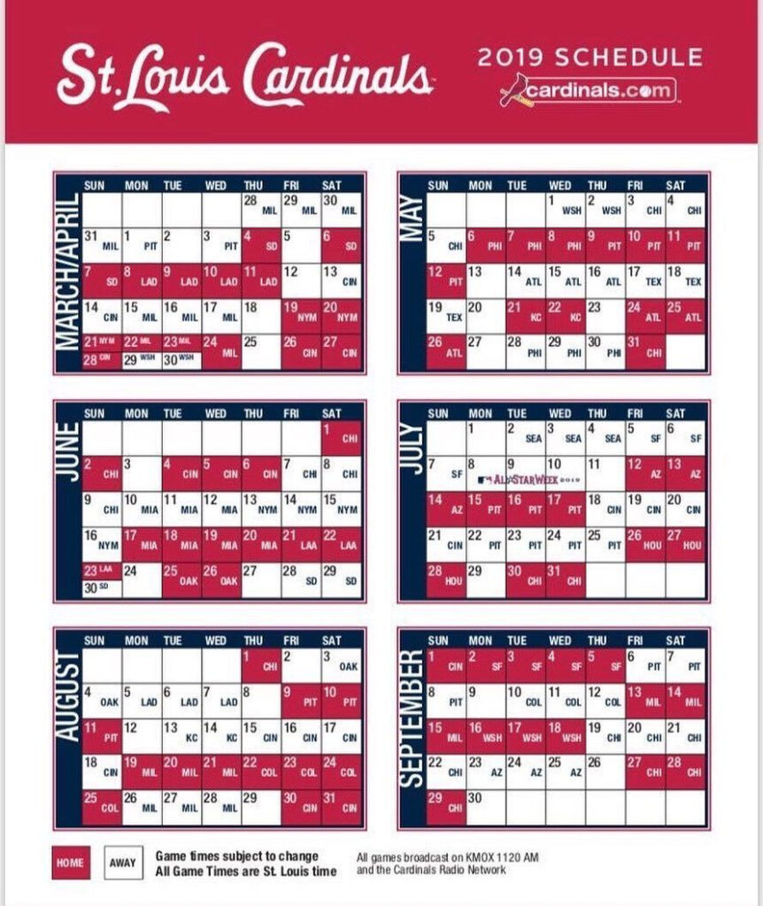 Saint Louis Cardinals Schedule Examples And Forms