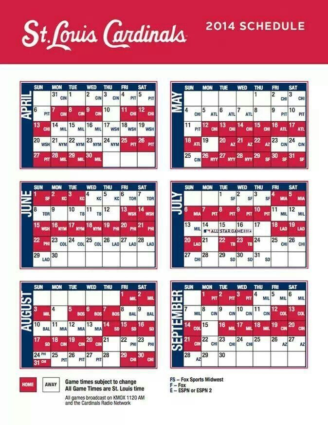 Schedule St Louis Cardinals Baseball Stl Cardinals