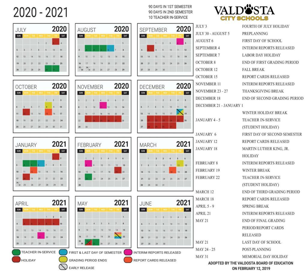 School Calendar 2021 2020calendartemplates