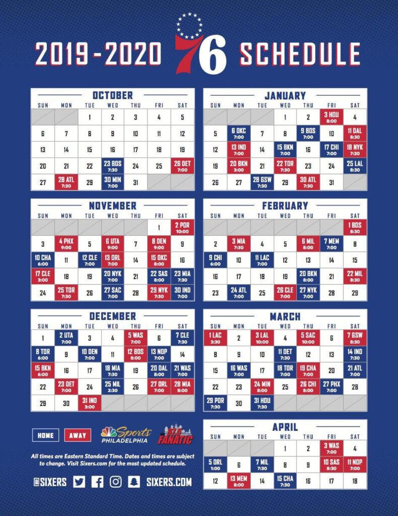 Sixers 19 20 Schedule Sixers