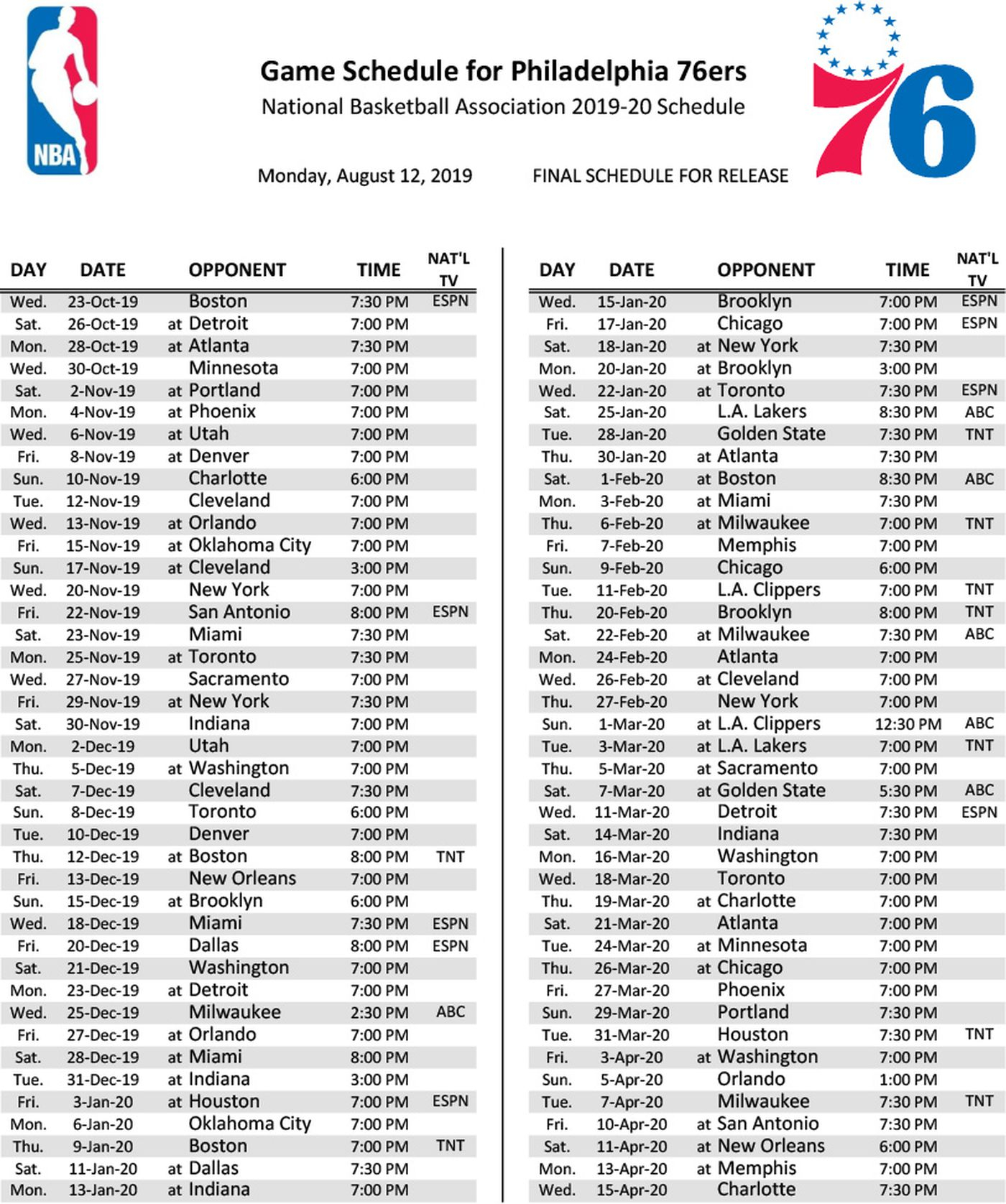 Sixers 2019 20 Schedule Open With Celtics Kawhi Leonard