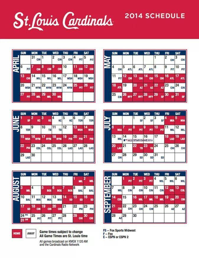 St Louis Cardinals 2014 Schedule St Louis Cardinals