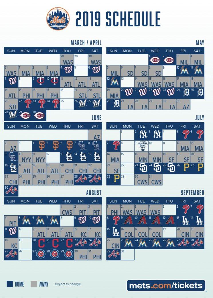 The 2019 Mets Schedule Has Been Released NewYorkMets