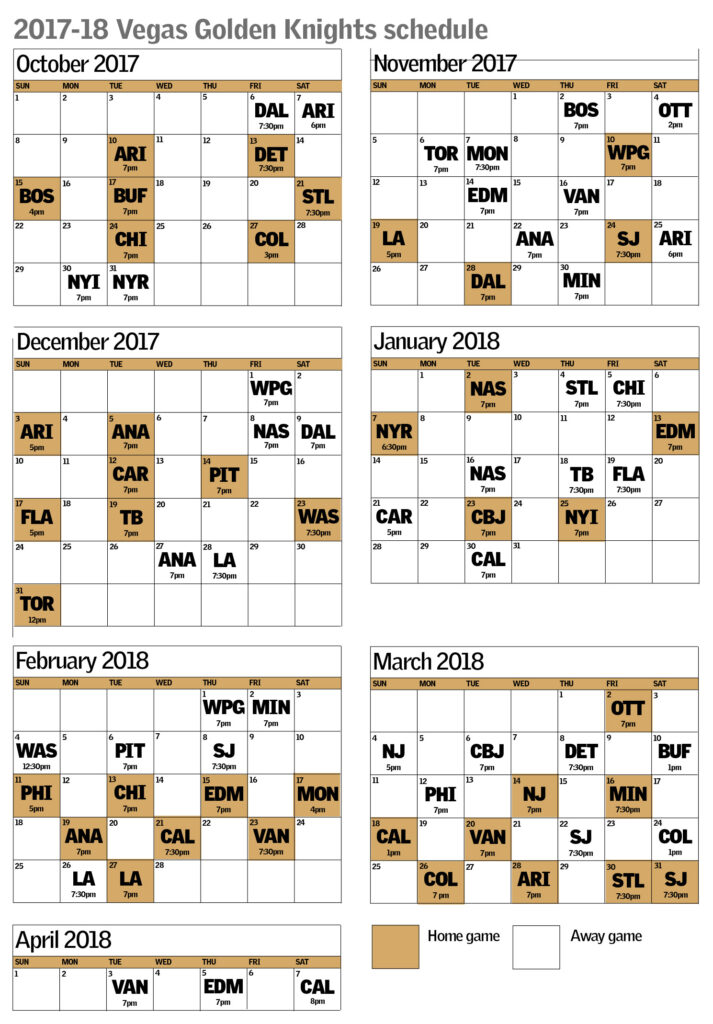 Vegas Golden Knights Schedule Includes Early 7 Game