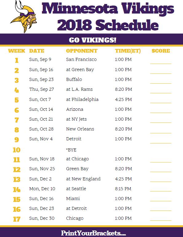 Vikings Schedule This Year skol Minnesota Vikings