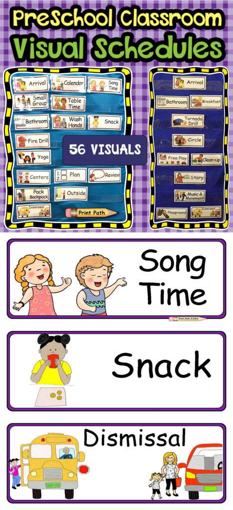 Visual Schedule Center Labels EDITABLE PreK Classroom