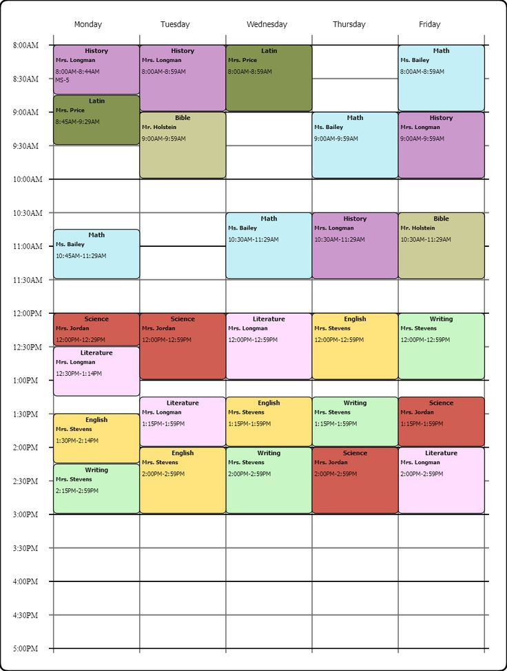 Weekly Class Schedule Maker Printable Receipt Template