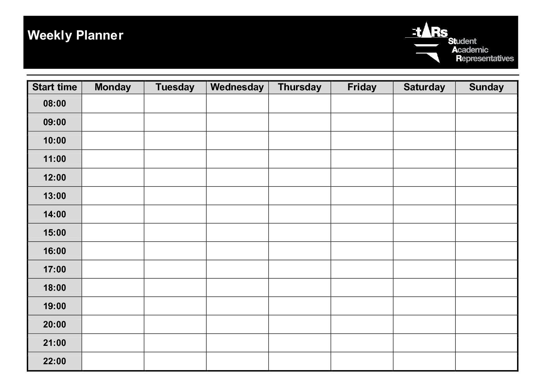 Weekly Planner Template PDF Weekly Planner Template