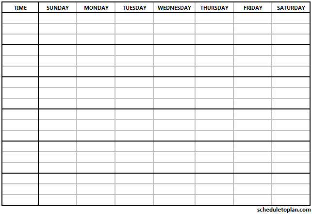 Weekly Schedule Printable Template Customizable Weekly