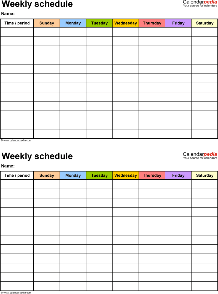 Weekly Schedule Template For Word Version 15 2 Timetables