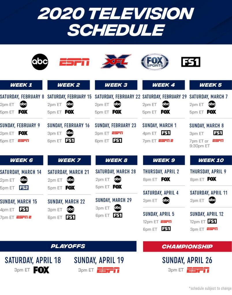 XFL 2020 Broadcast Schedule Xfl