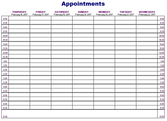 12 Free Sample Appointment Schedule Templates Printable