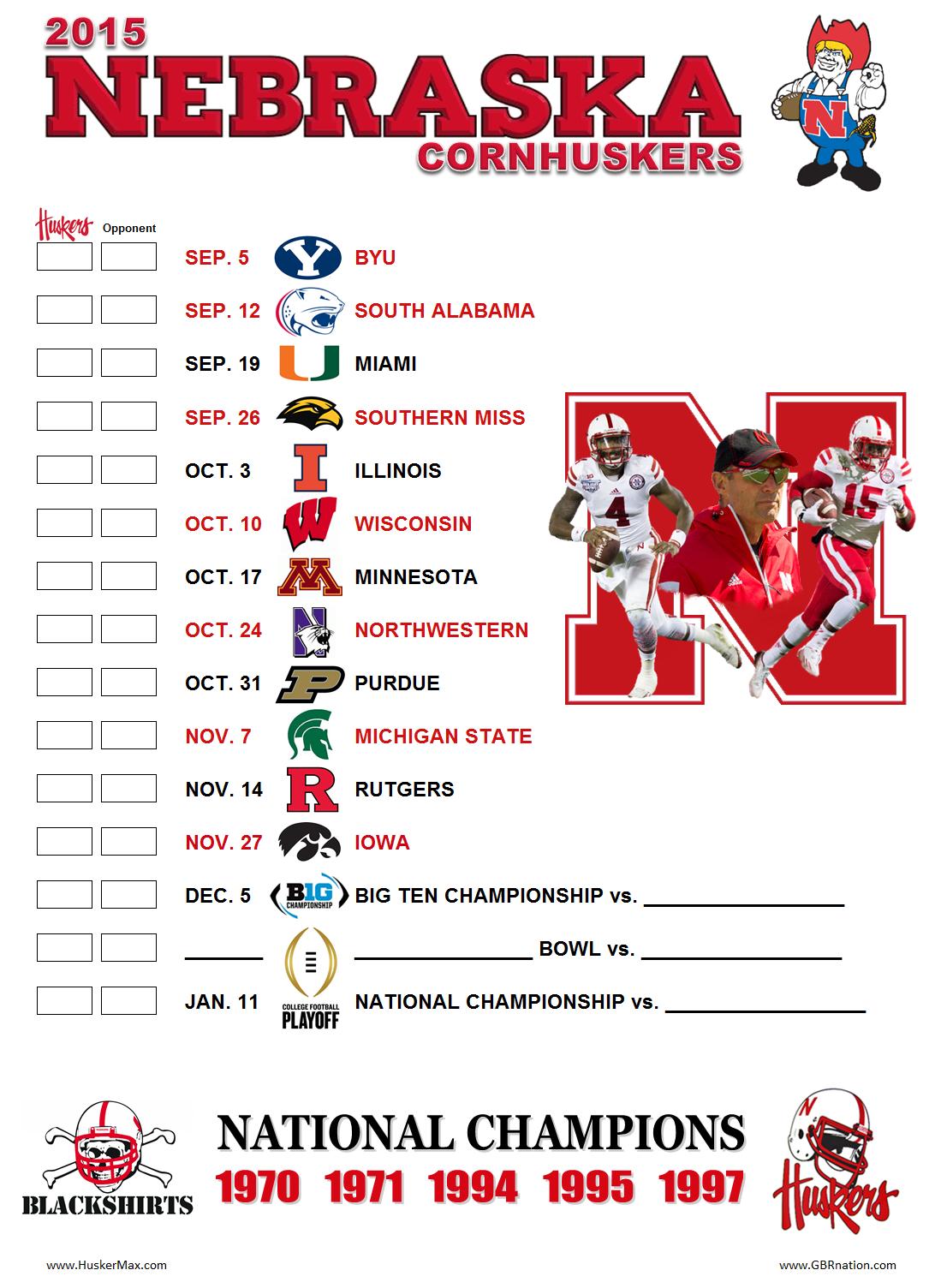2015 Printable Schedule HuskerMax