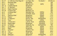 Wvu Printable Basketball Schedule