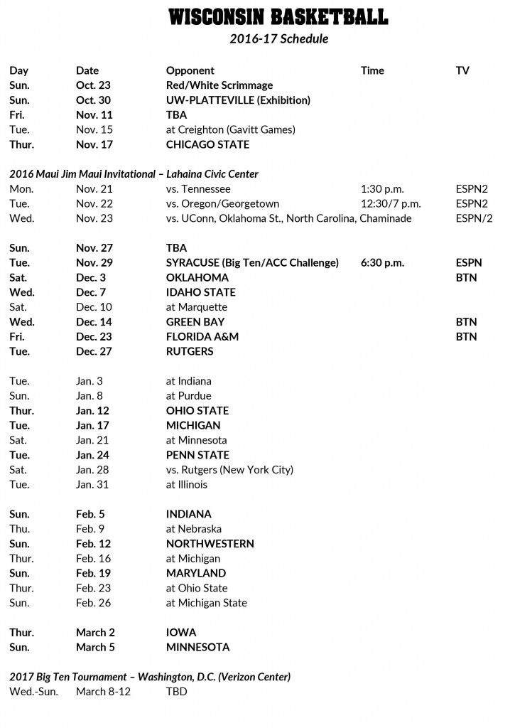 2016 17 Badgers Basketball Schedule Won t Be An Easy One