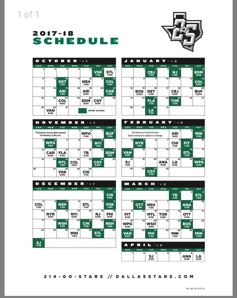 2017 2018 Dallas Stars Schedule Dallas Stars Fan Site