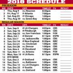 2018 19 Kansas City Chiefs Printable Schedule Kansas