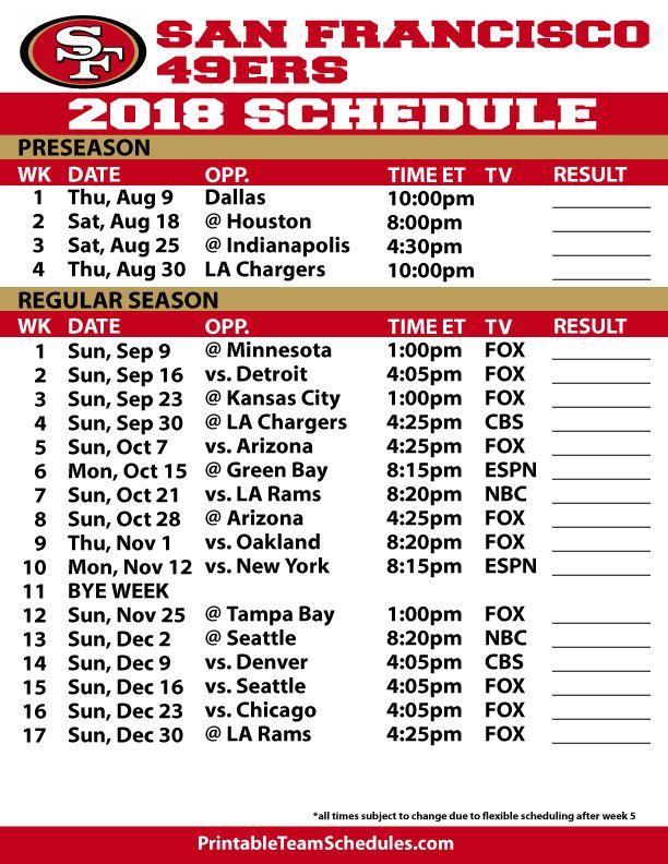 2018 19 San Francisco 49ers Printable Schedule 49ers