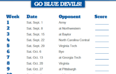 2018 Printable Duke Blue Devils Football Schedule Blue