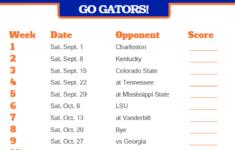 2018 Printable Florida Gators Football Schedule Florida