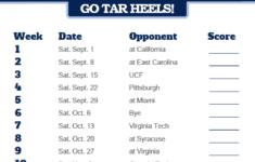 2018 Printable North Carolina Tar Heels Football Schedule