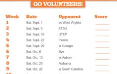 2018 Printable Tennessee Volunteers Football Schedule