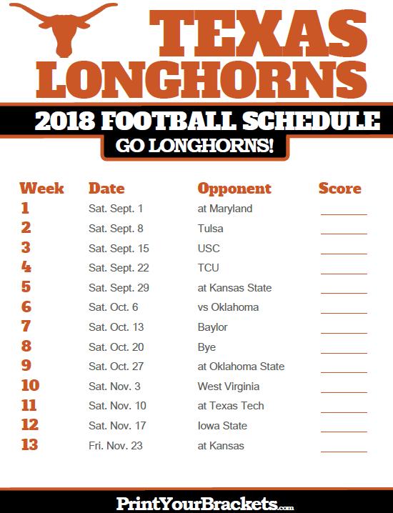 2018 Printable Texas Longhorns Football Schedule Texas