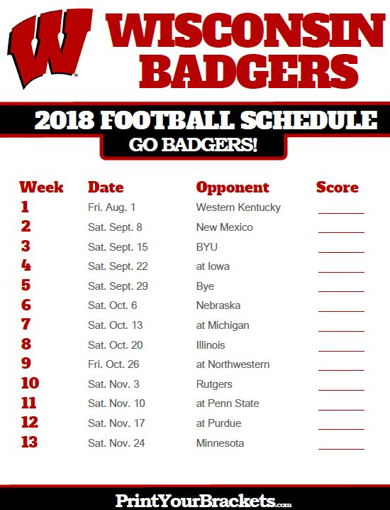 2018 Printable Wisconsin Badgers Football Schedule With