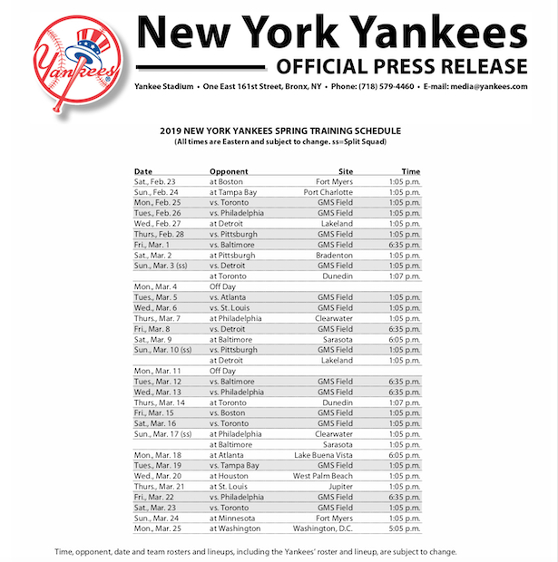 2019 New York Yankees Spring Training Schedule Muscle